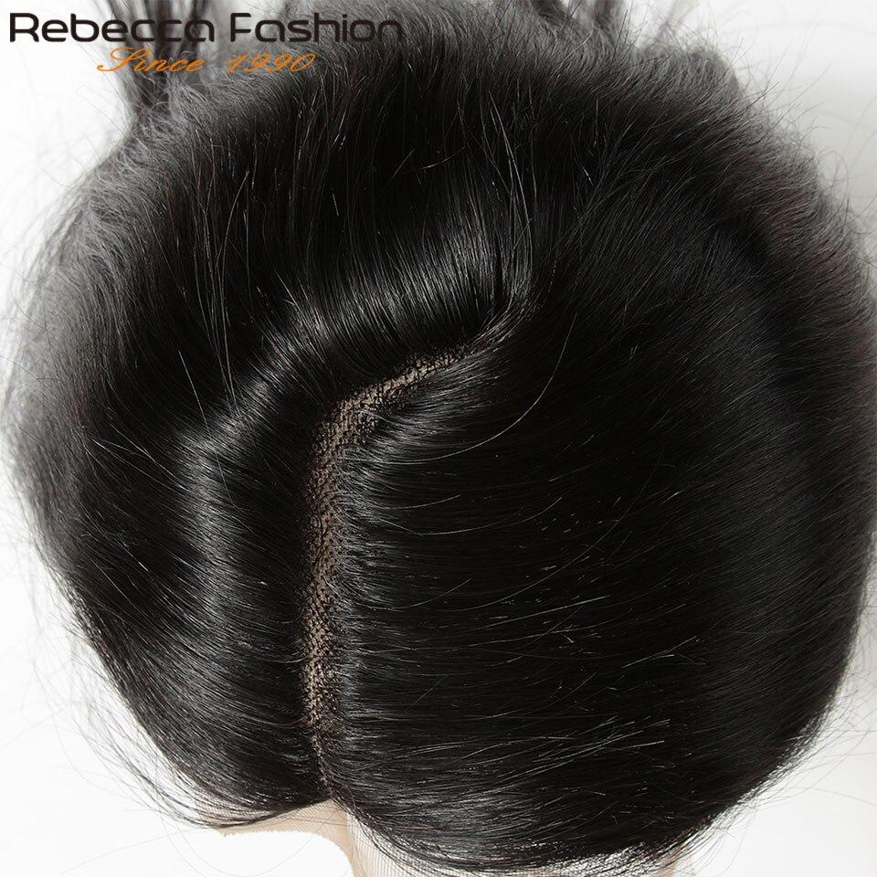 Rebecca Remy Hair 5*6 Lace Closure L Deep Part Lace Closure Peruvian Straight Human Hair Closure With Baby Hair 10-20 Inch